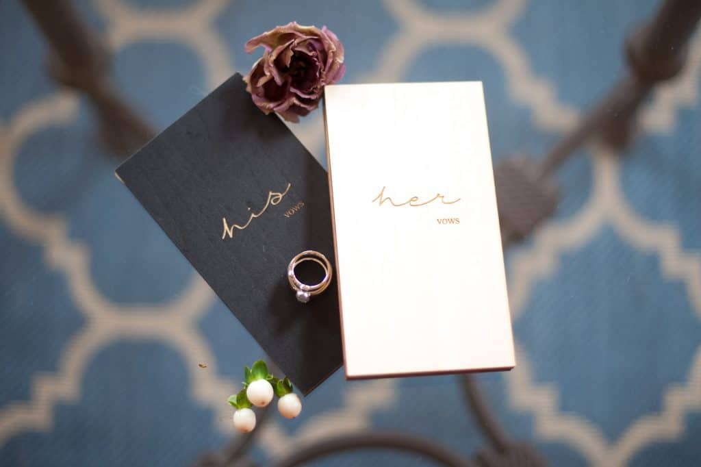 custom his and her vow books and rings