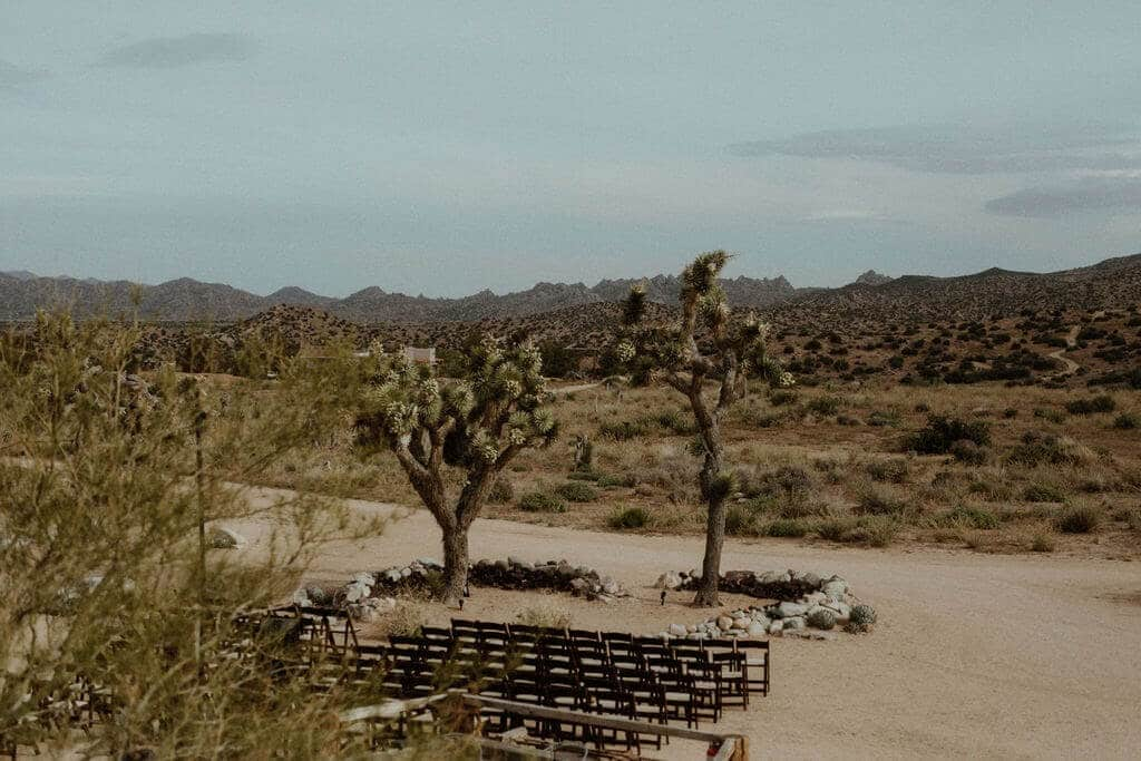 a minimalistic wedding ceremony at Rimrock Ranch in Pioneertown, California.