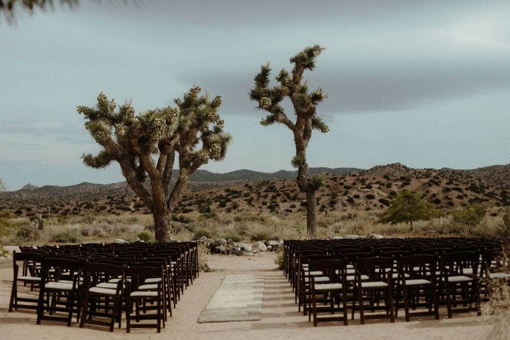 A modern and minimal wedding ceremony at Rimrock Ranch in Joshua Tree, California