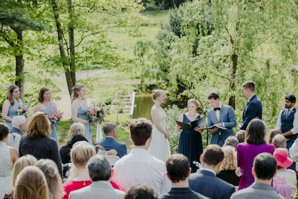 A lush and beautiful mid-coast Maine garden wedding ceremony on the Squire Tarbox Inn