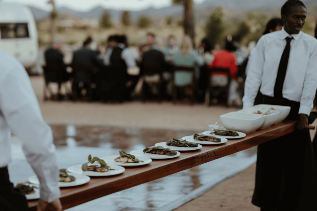 Room Forty catering serves up a delicious wedding dinner at Rimrock Ranch.