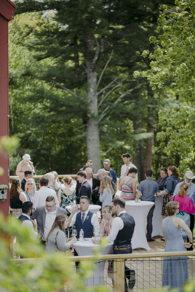 A summer cocktail hour wedding on a deck overlooking a beautiful pond in Maine.