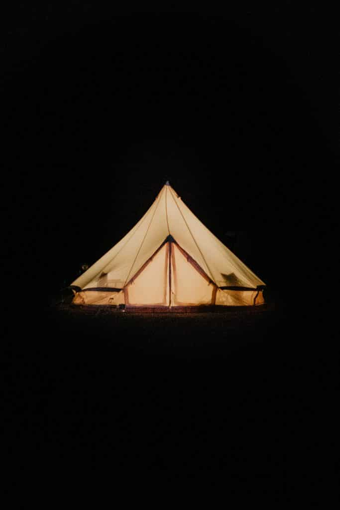 A glamping tent for a wedding in the desert by Stout Tents.