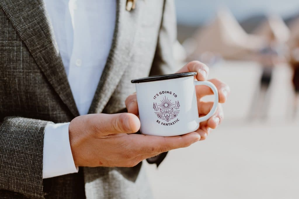 An eco-friendly gift for weddings, a custom coffee cup gift for a wedding in the desert!