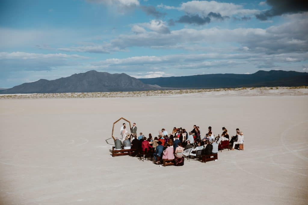 A remote and creative desert wedding ceremony inspired by Burning Man in Black Rock Desert