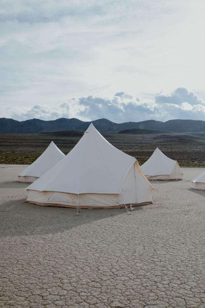 A stout bell tent for a festival inspired wedding in the desert.