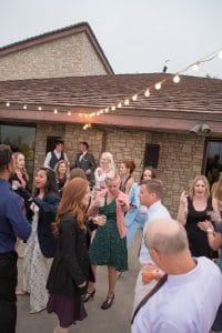 Guests dancing on the back patio of the Palos Verdes venue, Point Vicente Interpretive Center.