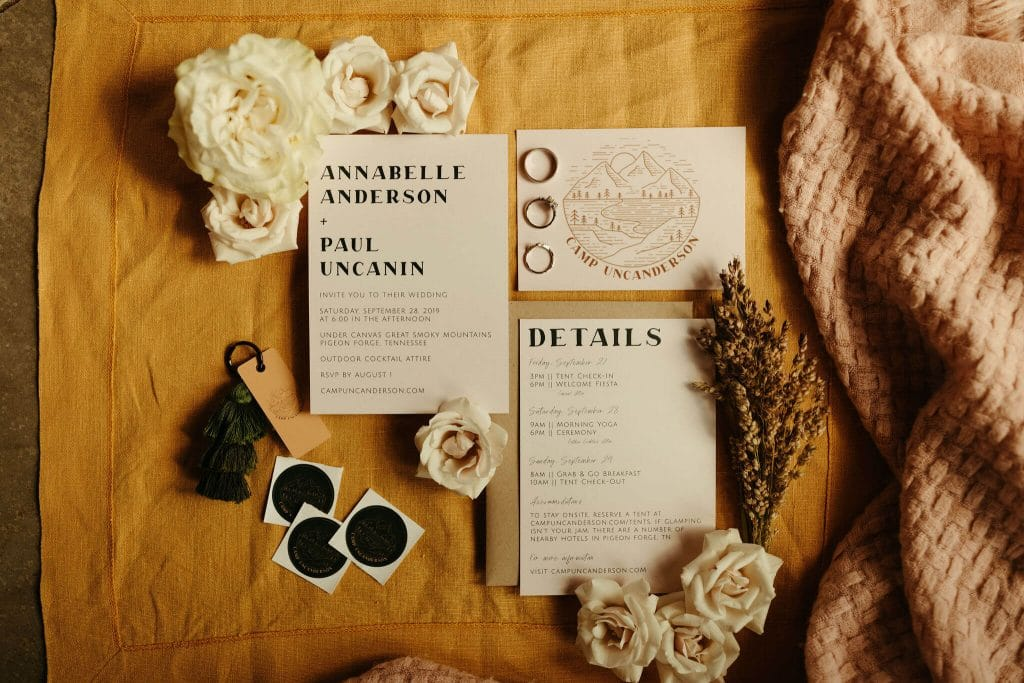 Neutral modern and boho wedding invitations for wedding in the Great Smoky Mountains
