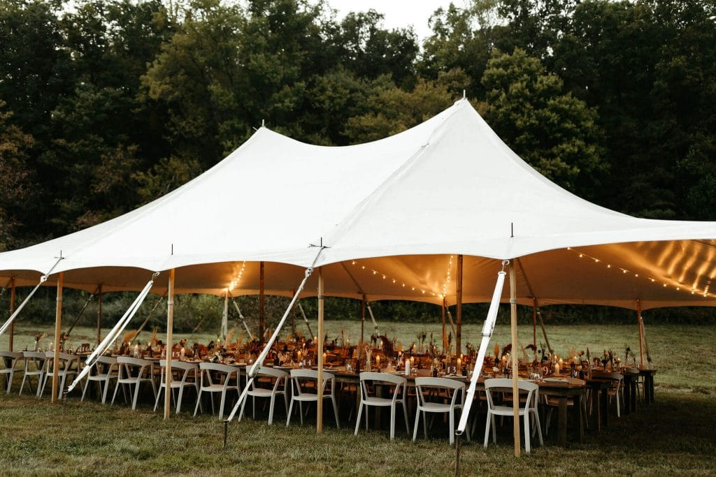 Boho reception dinner under a tent at Under Canvas Smoky Mountains