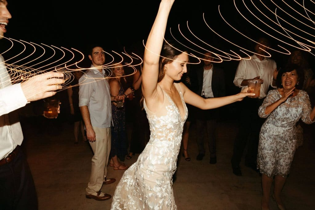 Dancing under the stars during wedding at Under Canvas smoky mountains