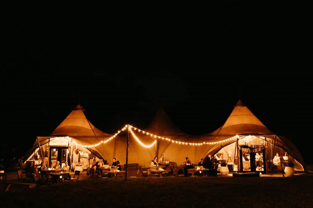 Under canvas smoky mountains at night under the stars. Best wedding venue in Tennessee for festival style weddings or glamping weddings
