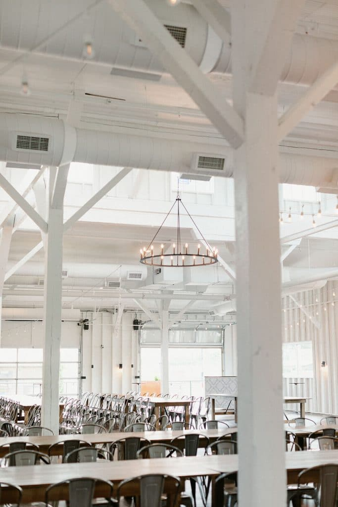 Metal chandelier at modern farmhouse wedding venue in Nashville