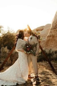 Boho Joshua Tree elopement with triangle arch