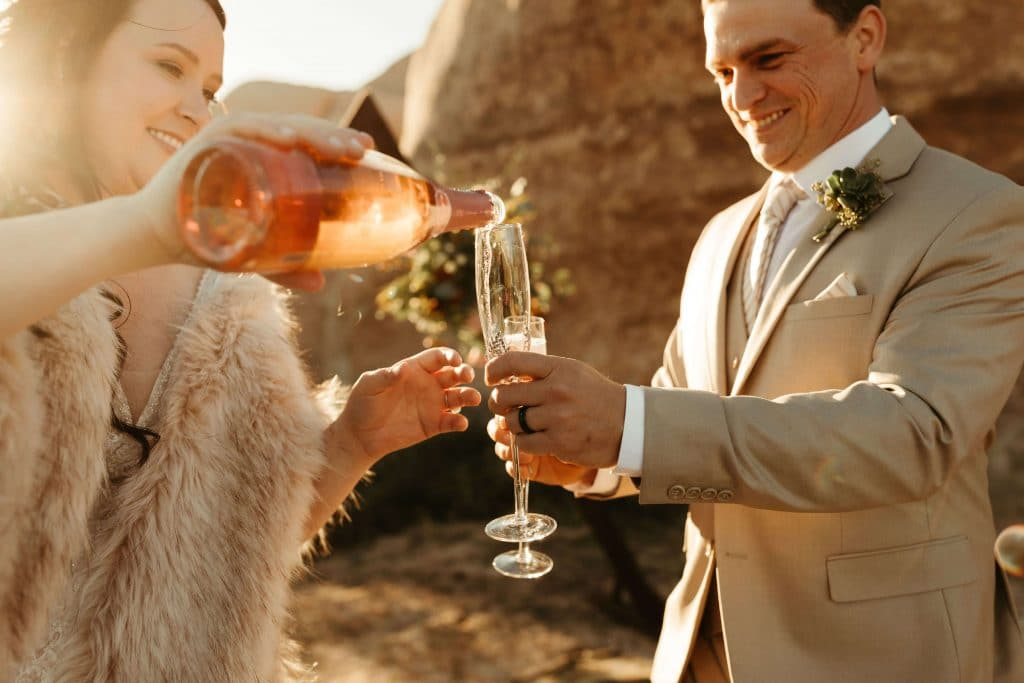 Champagne toast at Joshua Tree Elopement
