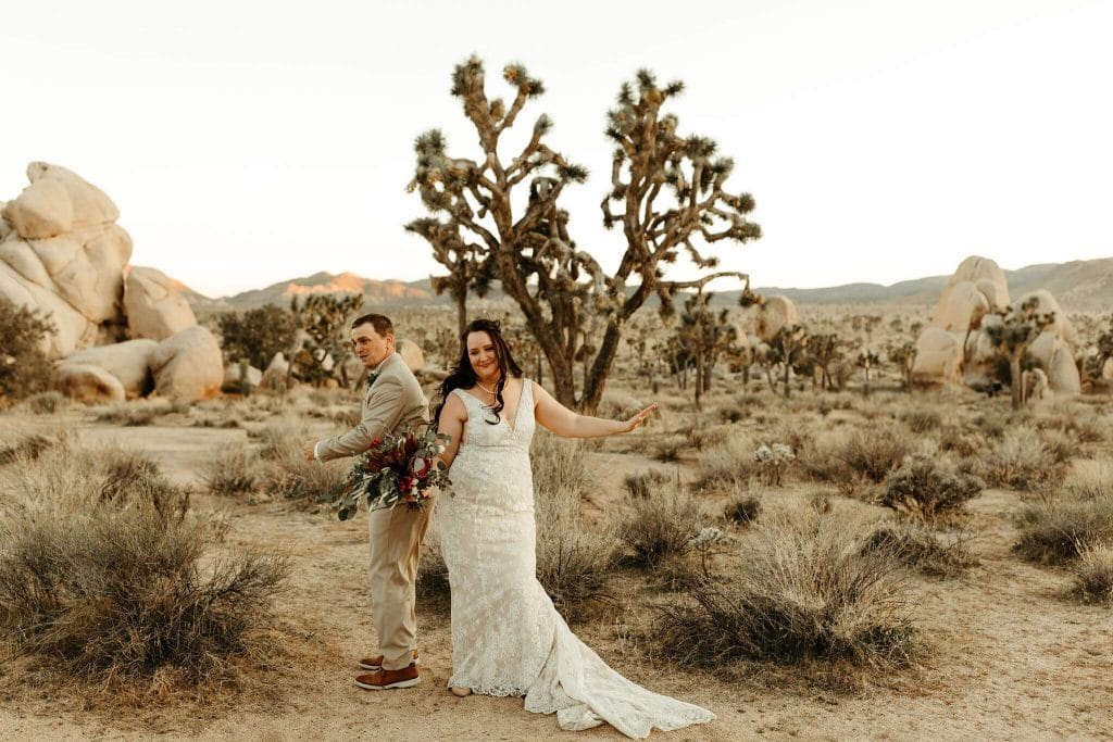 Bride and groom dance in Joshua Tree National Park