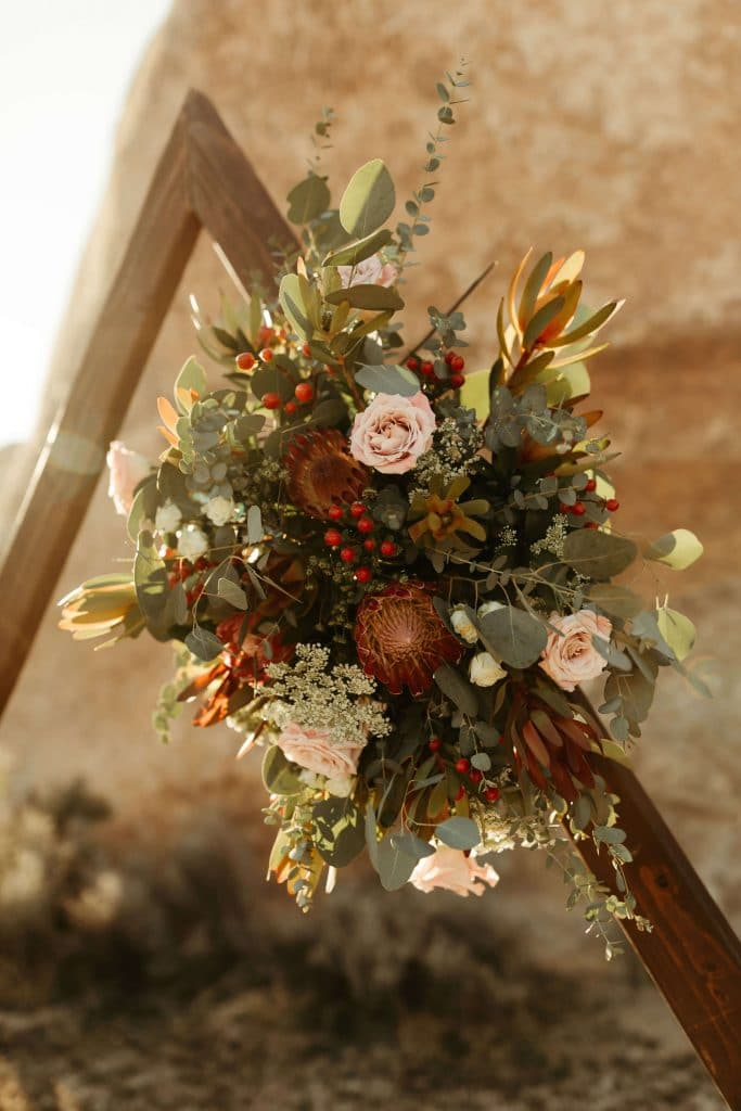 Floral arrangement on triangle arch at Joshua Tree National Park