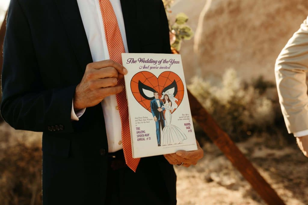Comic book vow book for Joshua Tree elopement