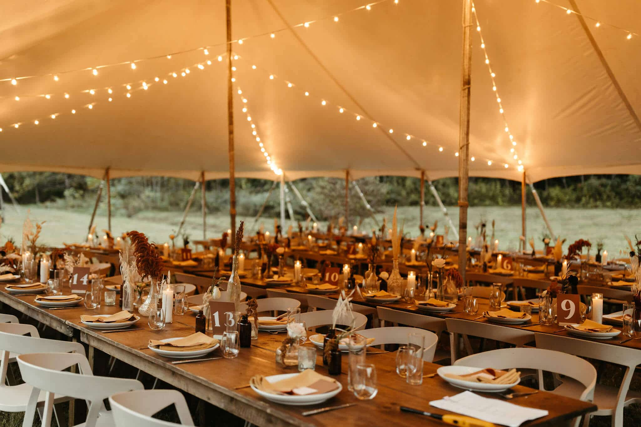 Boho wedding reception at Under Canvas Smoky Mountains