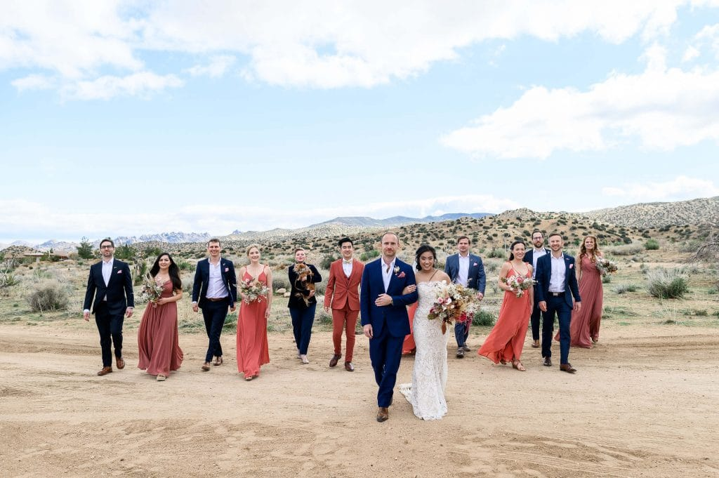 groomsmen in blue suits and bridesmaids in coral dresses