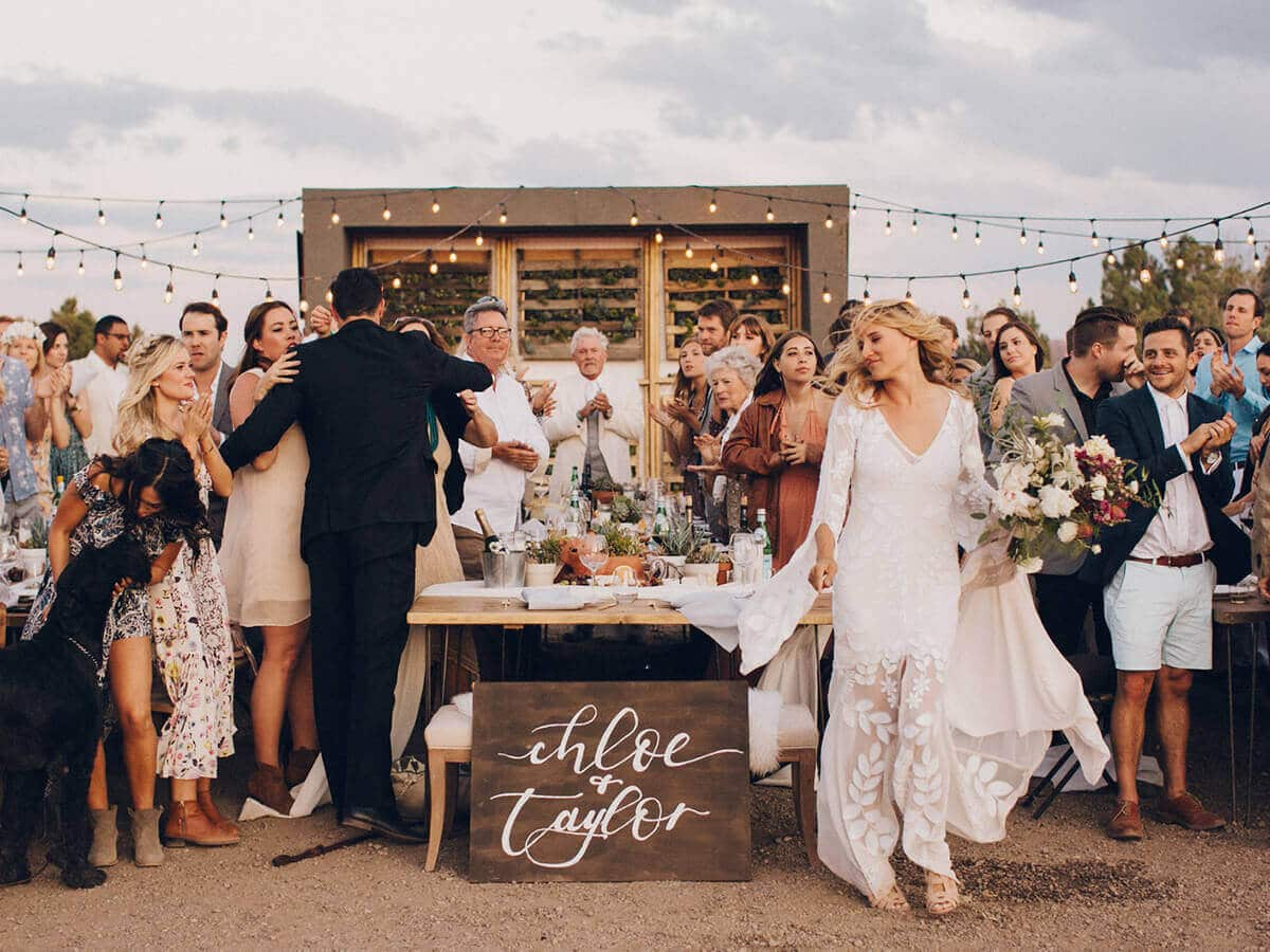 Festival style wedding at Moab Under Canvas.