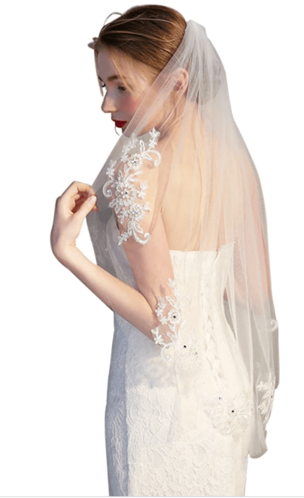 Mid length lace trimmed veil buy here
