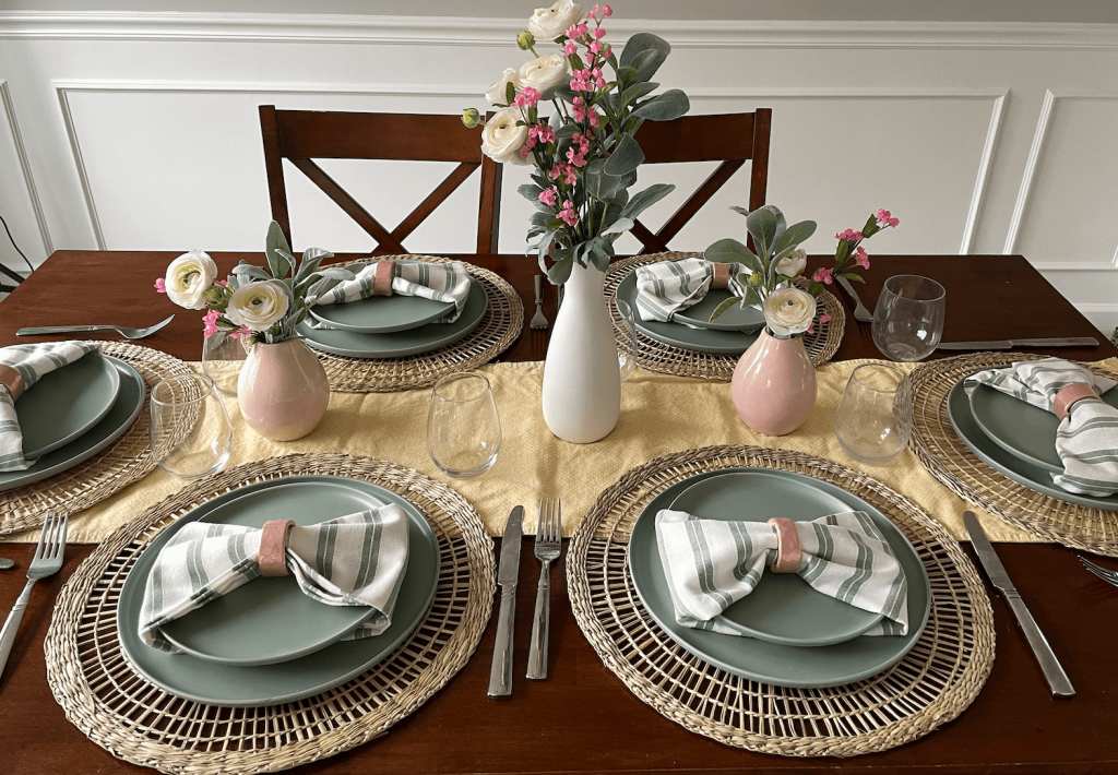 Pink and green easter tablescape