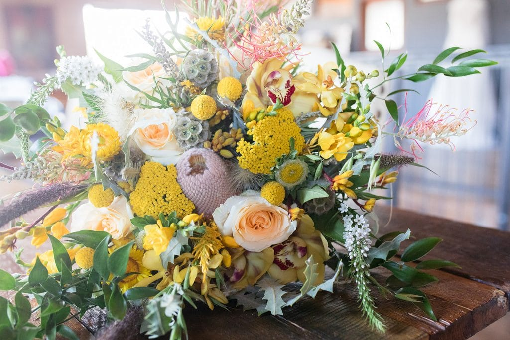 Spring wedding bouquet with yellow flowers