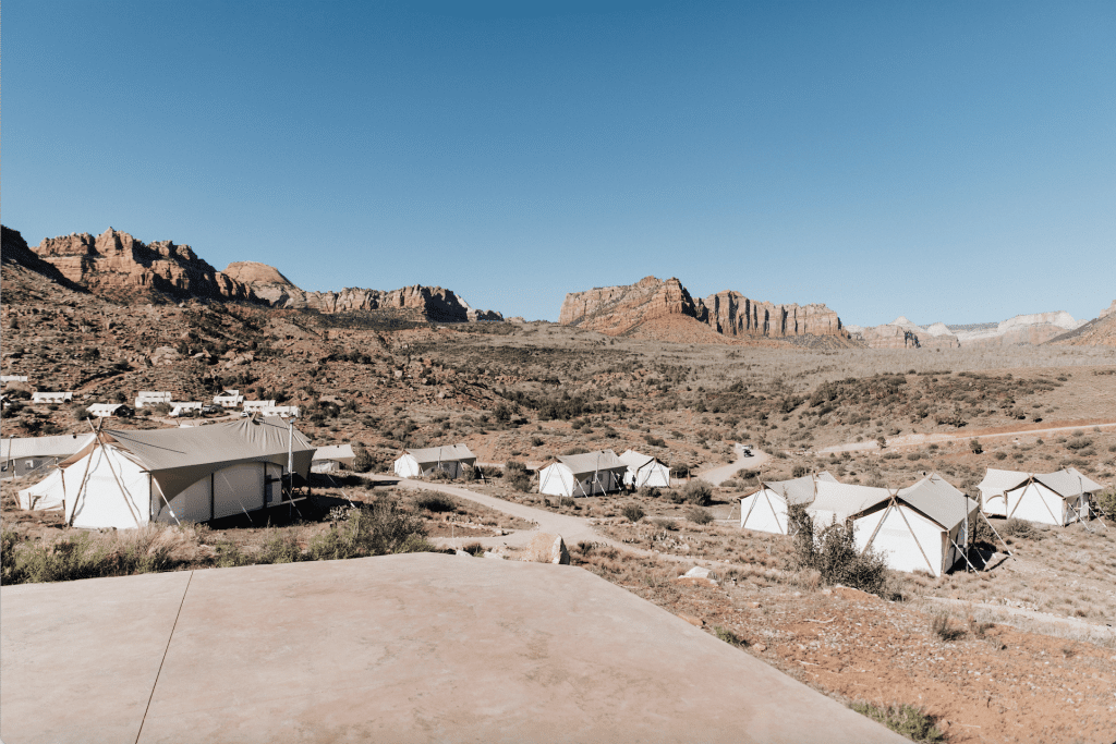 Glamping tents at Under Canvas Zion
