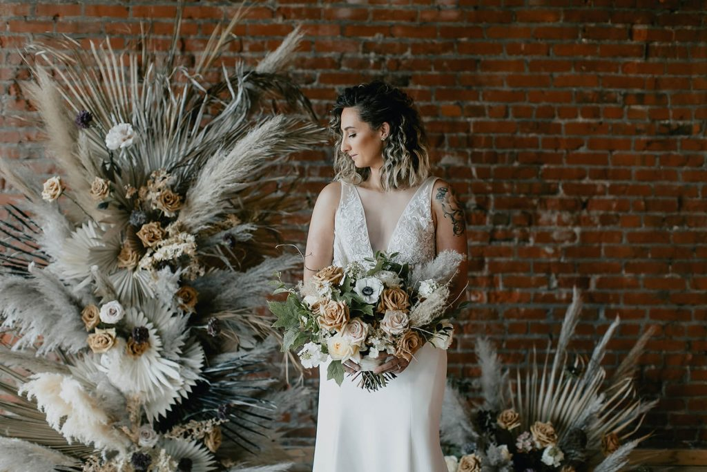 Bride with boho florals at White Star Station venue