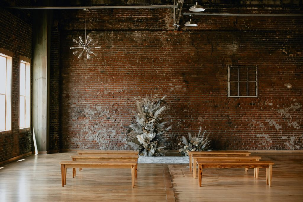 Boho wedding ceremony design at industrial Tennessee elopement