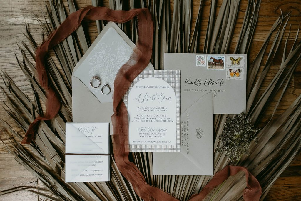Modern invitation suite for industrial boho elopement in Tennessee