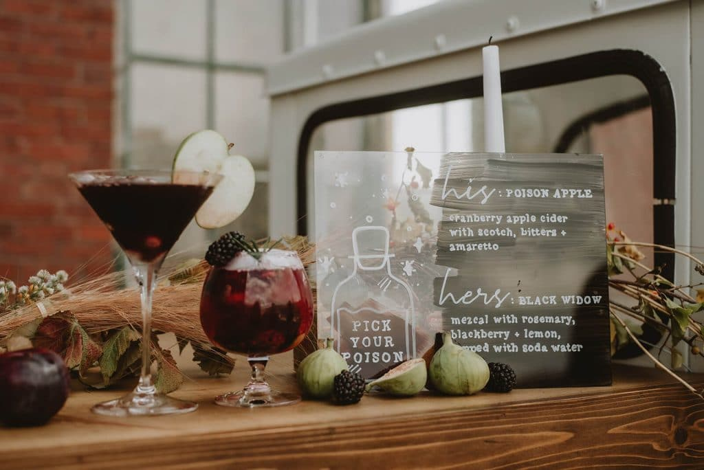Halloween wedding cocktails for bride and groom